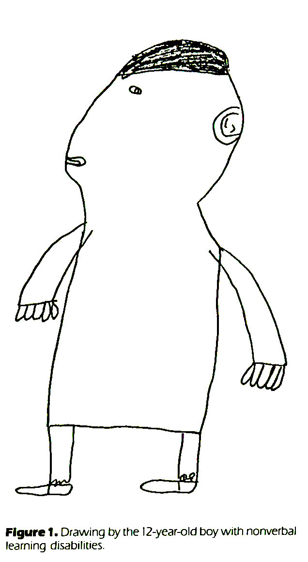 Figure 1. Drawing by the 12-year-old boy with nonverbal learning disabilities.