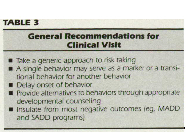TABLE 3General Recommendations for Clinical Visit