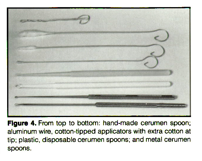 Figure 4. From top to bottom: hand-made cerumen spoon; aluminum wire, cotton-tipped applicators with extra cotton at tip; plastic, disposable cerumen spoons; and metal cerumen spoons.