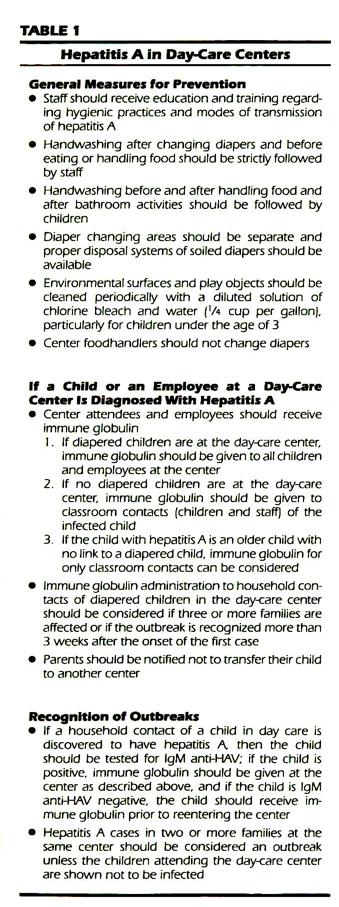 TABLEIHepatitis A in Day-Care Centers