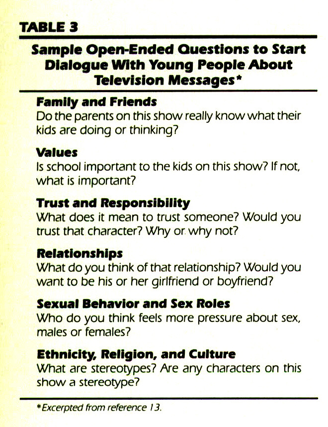 TABLE 3Sample Open-Ended Questions to Start Dialogue With Young People About Television Messages*