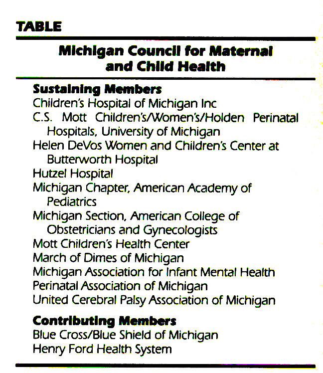 TABLEMichigan Council for Maternal and Child Health