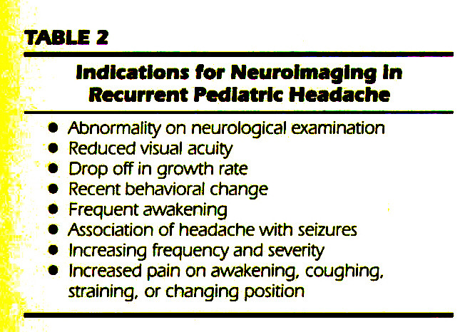 TABLE 2Indications for Neurofmaglng In Recurrent Pediatric Headache