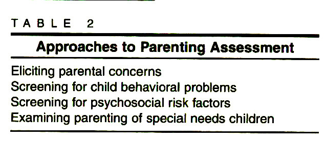 TABLE 2Approaches to Parenting Assessment