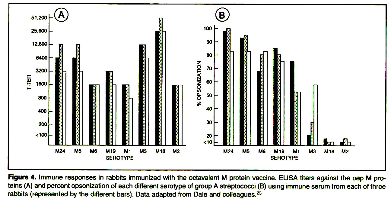 Figure 4. Immune responses in rabbits immunized with the octavalent M protein vaccine. ELISA titers against the pep M proteins (A) and percent opsonization of each different serotype of group A streptococci (B) using immune serum from each of three rabbits (represented by the different bars). Data adapted from Dale and colleagues.23