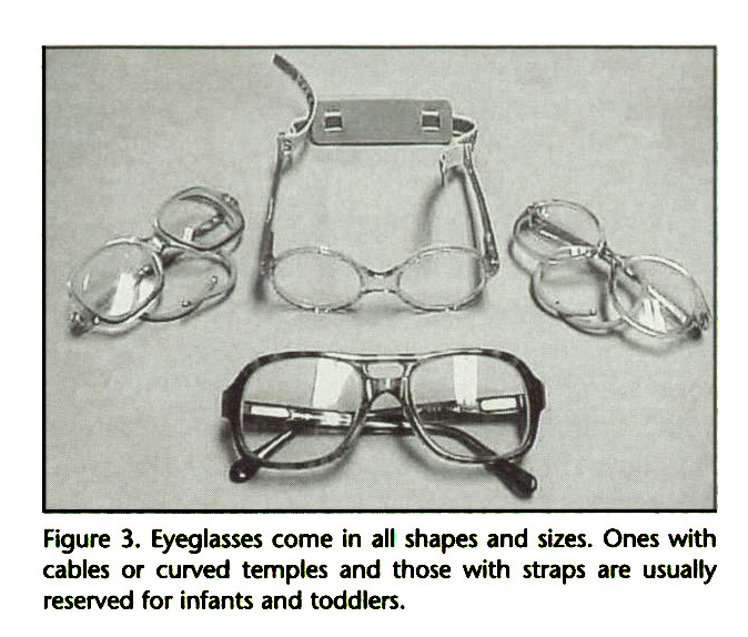 Figure 3. Eyeglasses come in all shapes and sizes. Ones with cables or curved temples and those with straps are usually reserved for infants and toddlers.