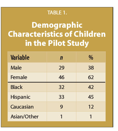 TABLE 1.Demographic Characteristics of Children in the Pilot Study