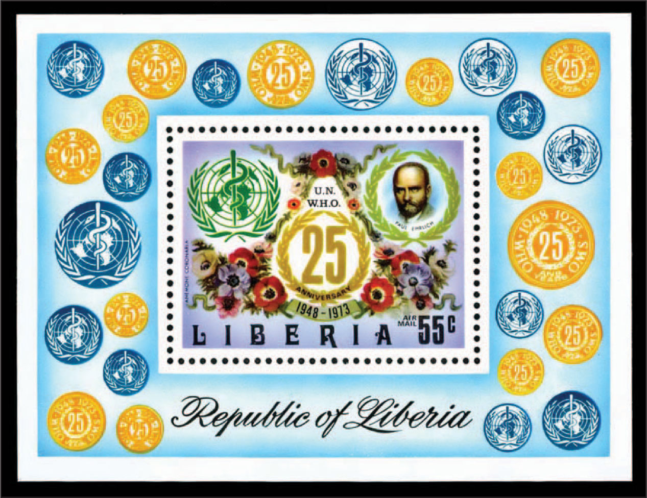 The 1973 Liberian Souvenir Sheet Containing the Small Portrait of Paul Ehrlich, Who Received the Nobel Prize for Physiology or Medicine in 1908.