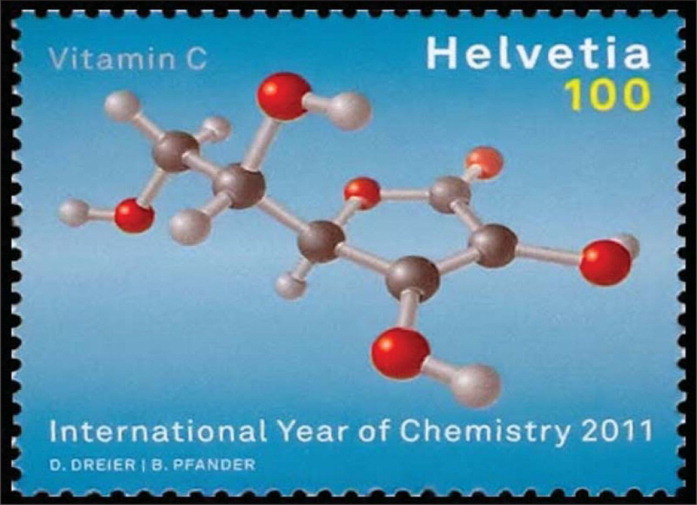 This stamp from Switzerland depicts the chemical structure of vitamin C. The stamp was issued to honor the International Year of Chemistry (2011).
