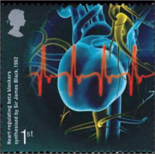 This Stamp with a Red EKG Tracing Honors the Synthesis of the Beta-Blocker Class of Drugs for the Management of Cardiac Arrhythmias and Hypertension by Sir James Black (1924–2010) in 1962.