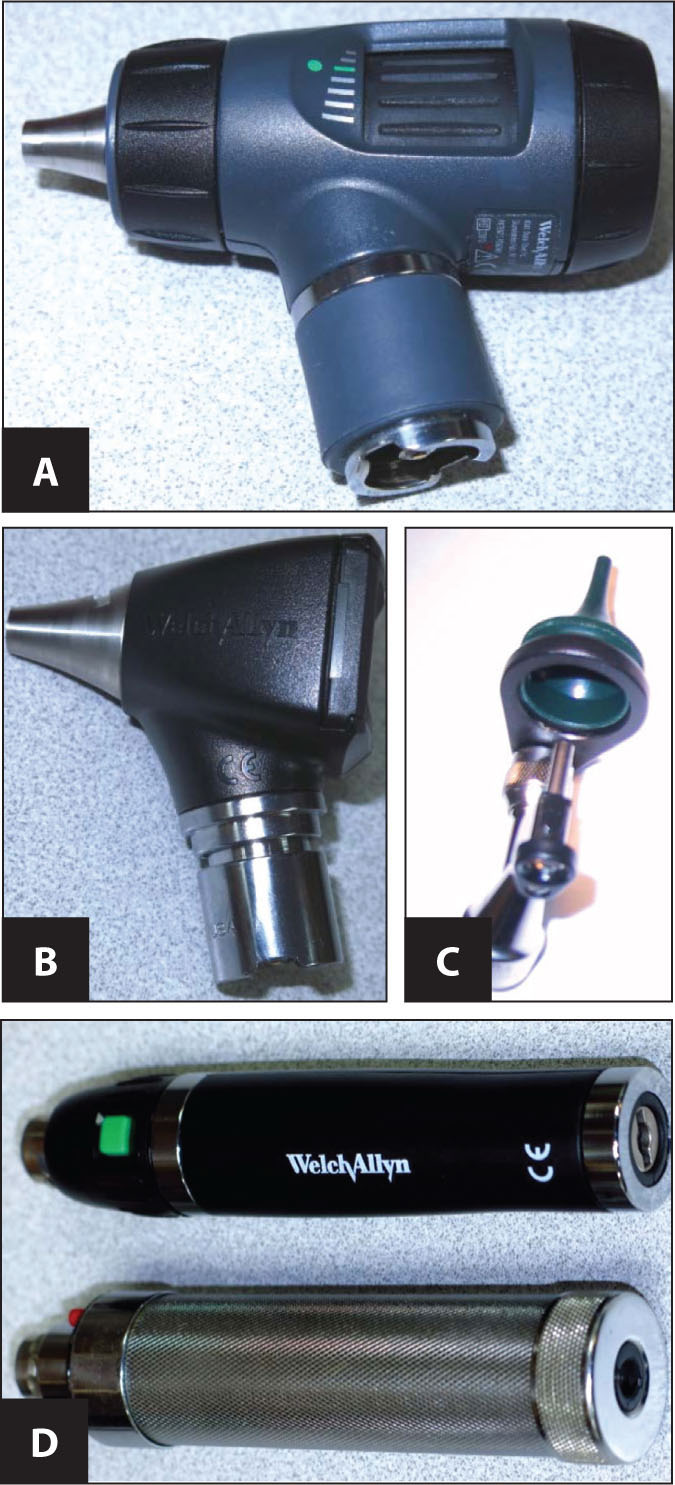"Welch-Allyn otoscopic heads and a handle. (A) This is the ""Macroview"" (preferred). (B) This is the less expensive ""standard"" otoscopic head. (C) This is the Welch-Allyn ""surgical"" head with green round speculum. (D) Otoscopic handle (top): the lithium ion battery (preferred); otoscopic handle (bottom): the nickel cadmium battery — just not as bright or long lasting, and as the battery wears, the light becomes subtly and almost imperceptibly duller for quite awhile.Images courtesy of Stan L. Block, MD, FAAP."