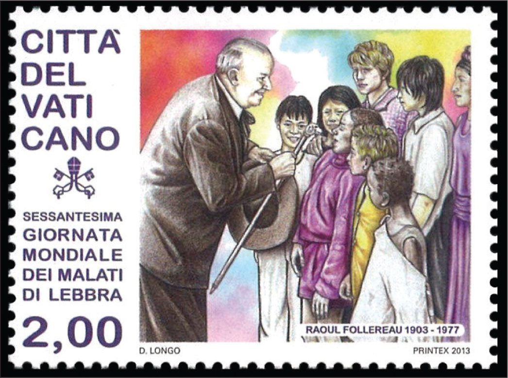 A stamp from Vatican City celebrating the 60th annual World Leprosy Day and the 110th birthday of Raoul Follereau (1903–1977), who advocated globally on behalf of leprosy patients.
