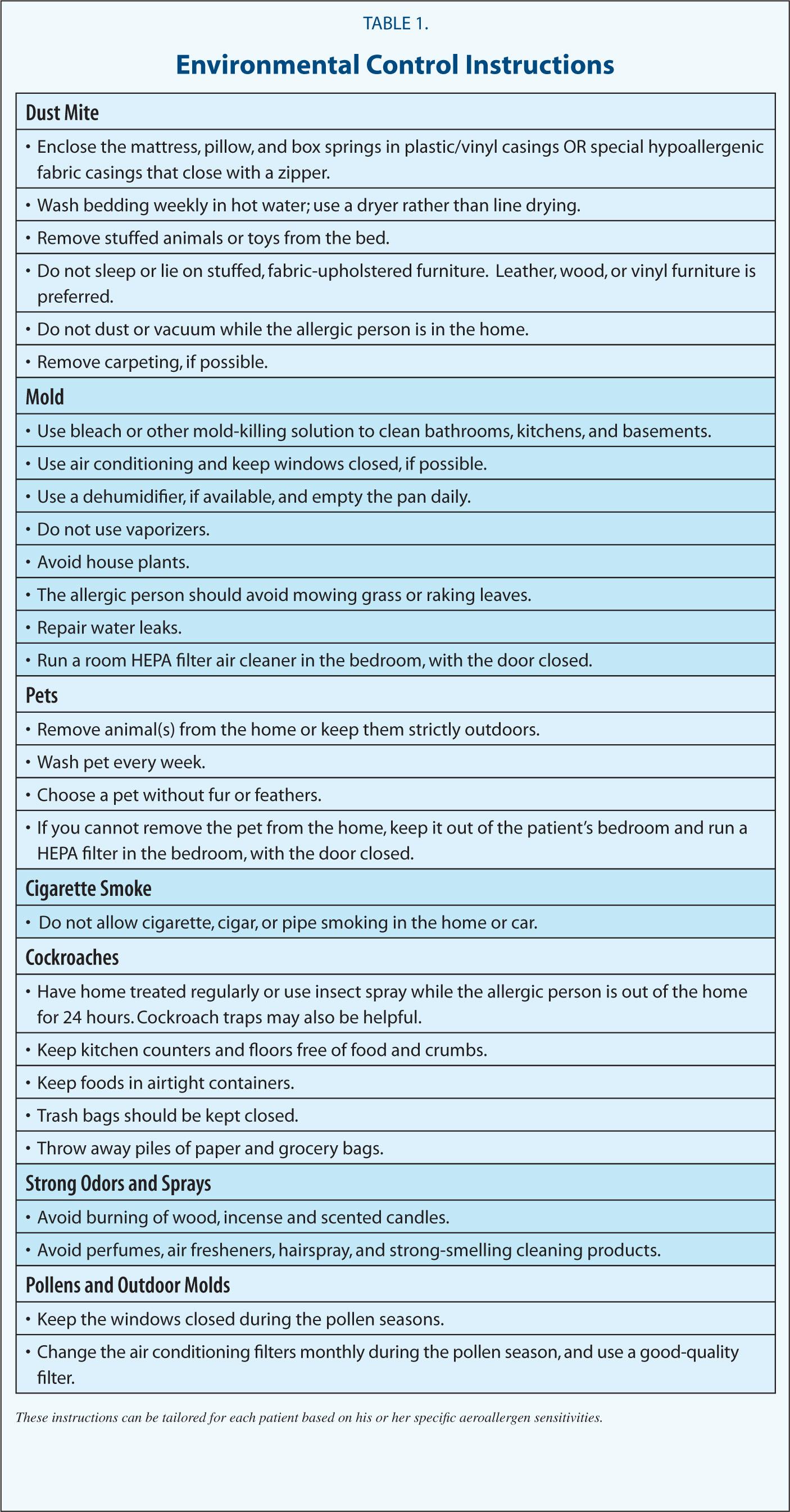 Environmental Control Instructions