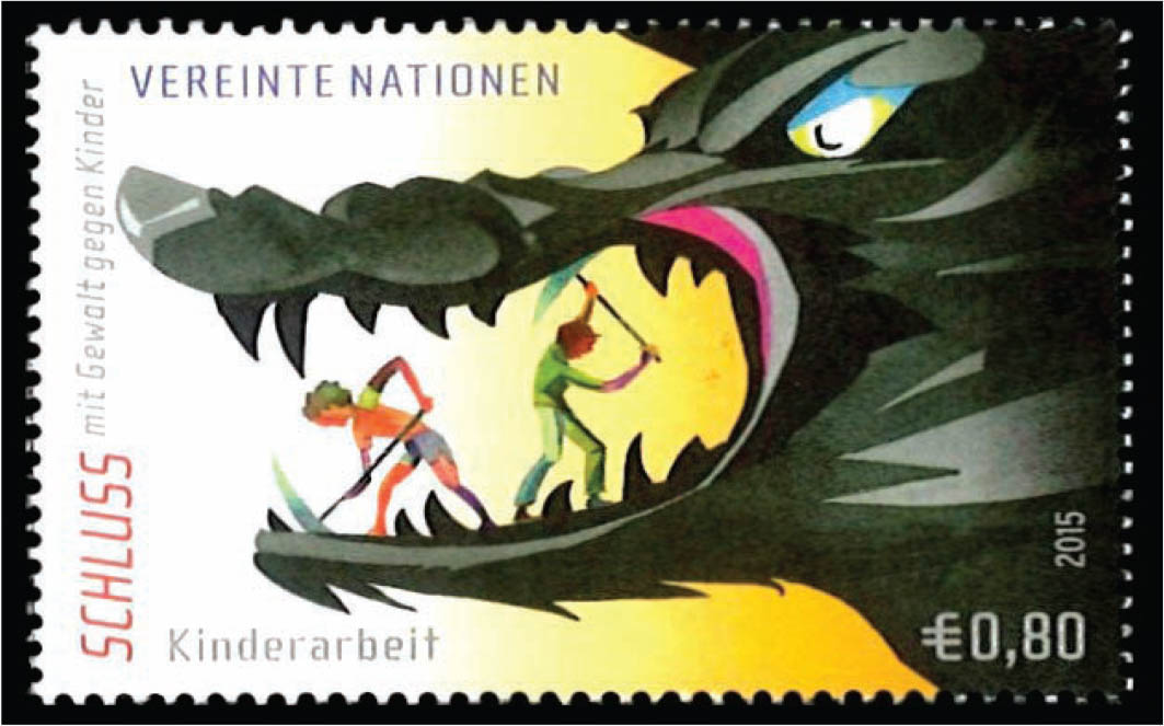 A stamp illustrating child labor.