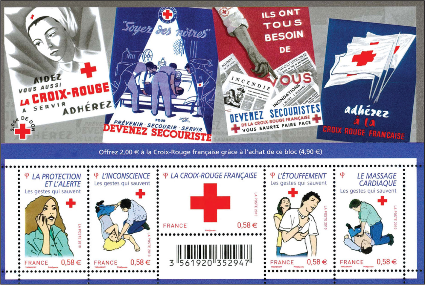 French souvenir sheet promoting the French Red Cross.