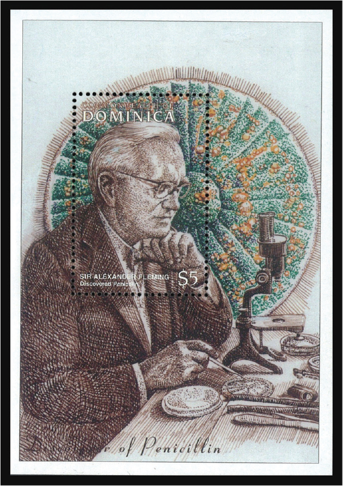 This souvenir sheet from Dominica shows Alexander Fleming in the laboratory with penicillin growth in the background.
