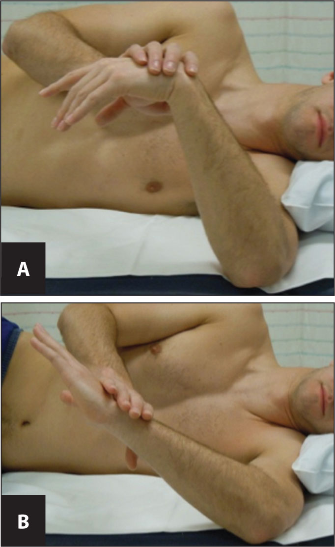 """Internal rotation stretches demonstrating (A) the """"sleeper stretch"""" starting position and (B) the engaged stretch."""