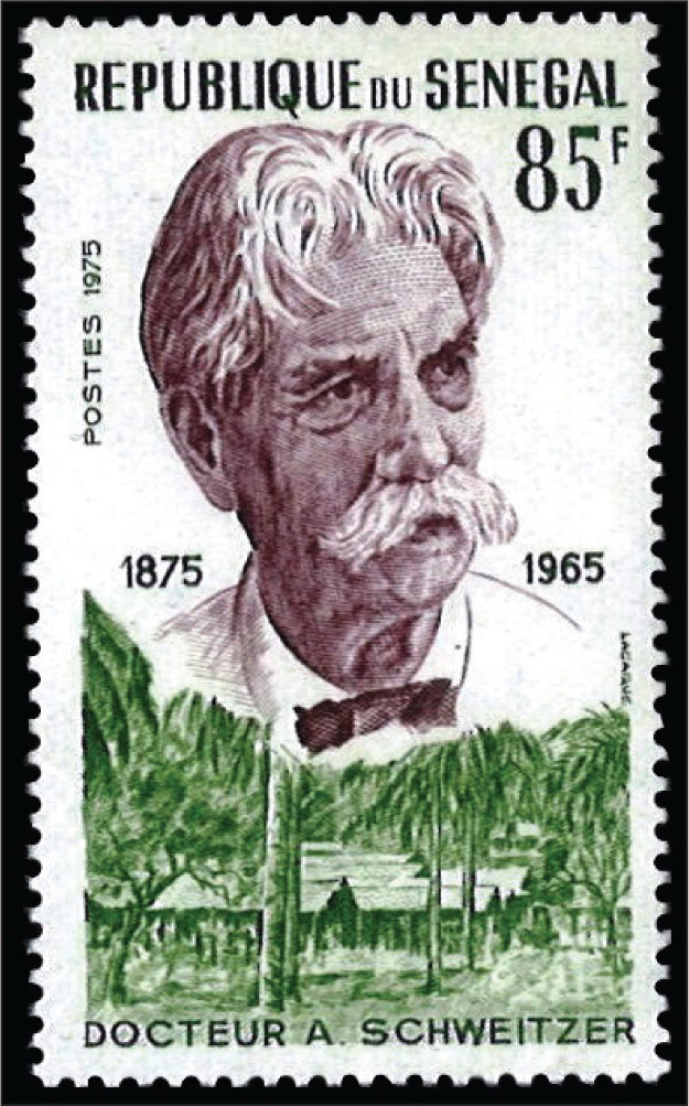A Senagalese stamp from 1975 in honor of Dr. Albert Schweitzer who was a great medical missionary, physician, philosopher, organist, and musical scholar.