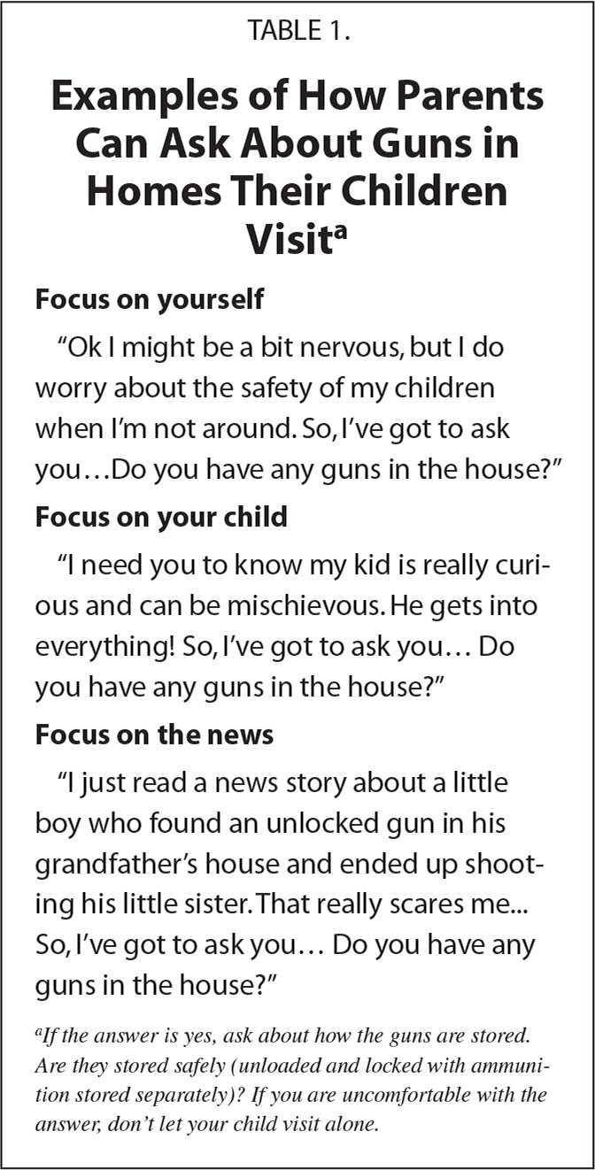 A;Examples of How Parents Can Ask About Guns in Homes Their Children Visita