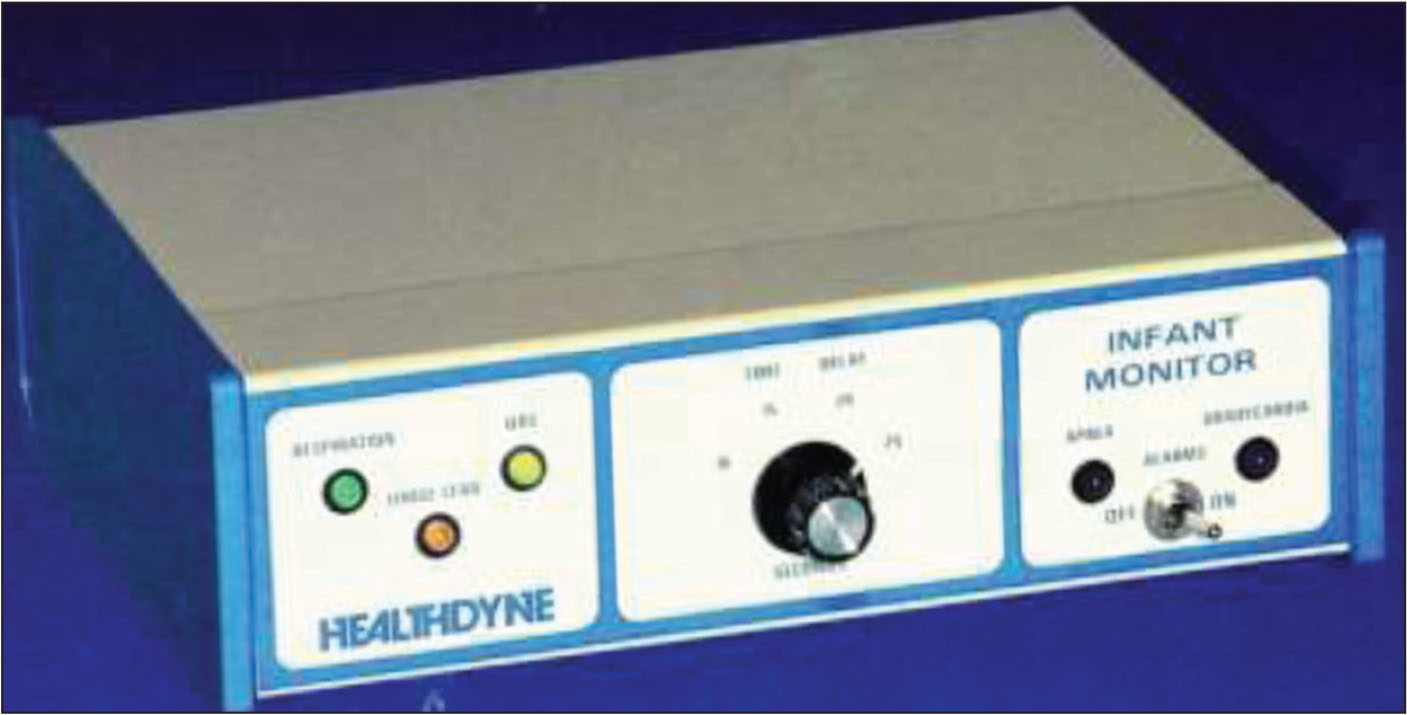 The original Healthdyne monitor (no longer in production). Note the toggle on and off switch.