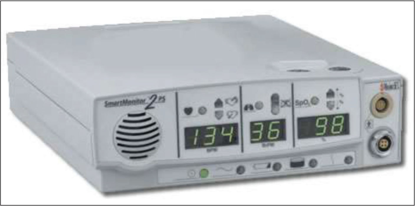 The SmartMonitor 2PS (Circadiance, Pittsburgh, PA) cardiorespiratory monitor with a built in pulse oximeter.