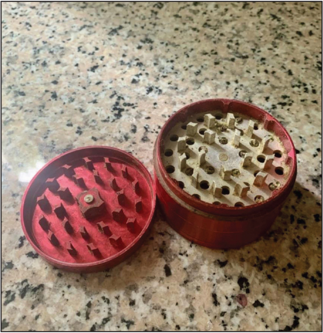 A cannabis grinder used to break up marijuana into small pieces that are easier to ignite. Used with permission from Joseph Montalto, BA.