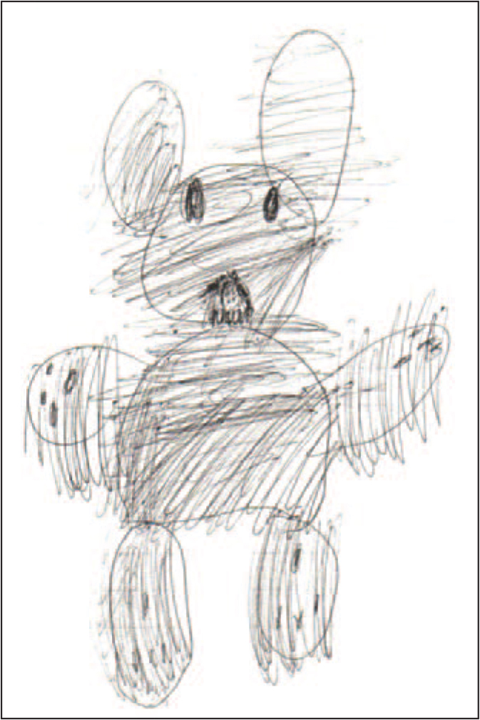 Sam drew this picture of a bear from a recurrent nightmare he experienced.