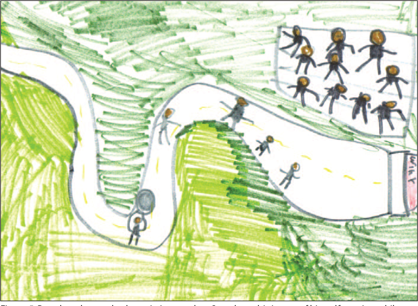 Based on the psychotherapist's metaphor, Sam drew this image of himself running while carrying a boulder, a situation that puts him at a disadvantage compared with the other runners in the race. He inserted the cheering spectators on his own.
