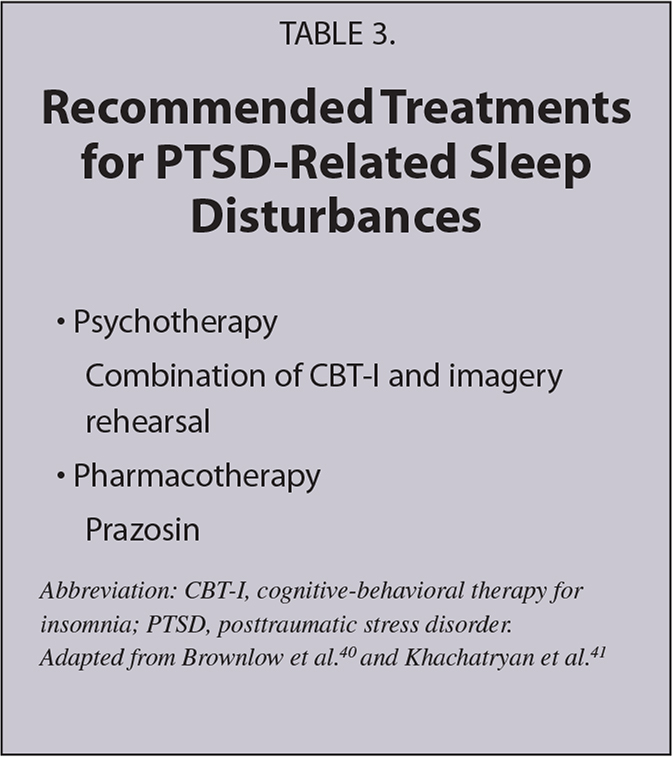 Recommended Treatments for PTSD-Related Sleep Disturbances