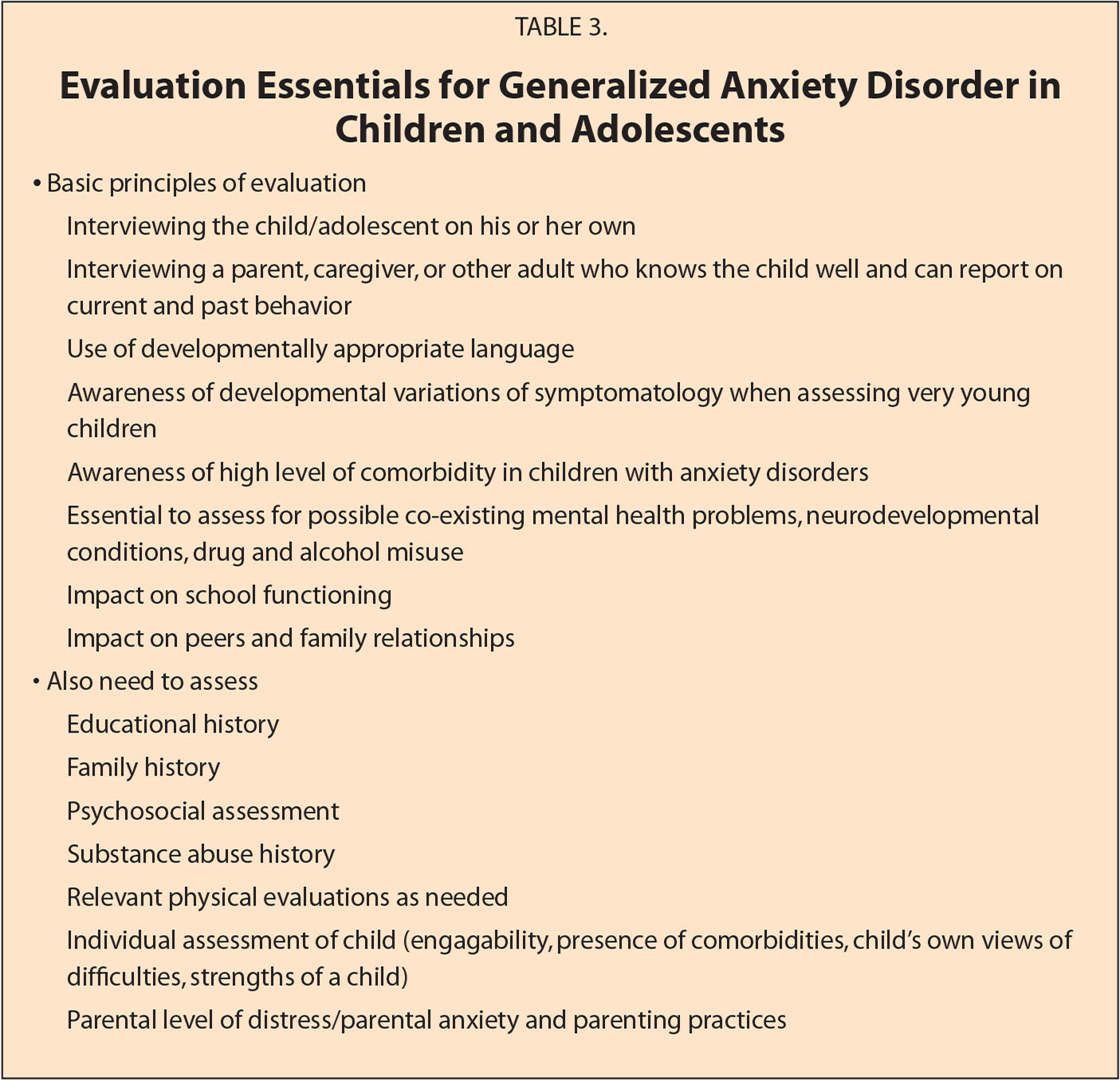 Evaluation Essentials for Generalized Anxiety Disorder in Children and Adolescents