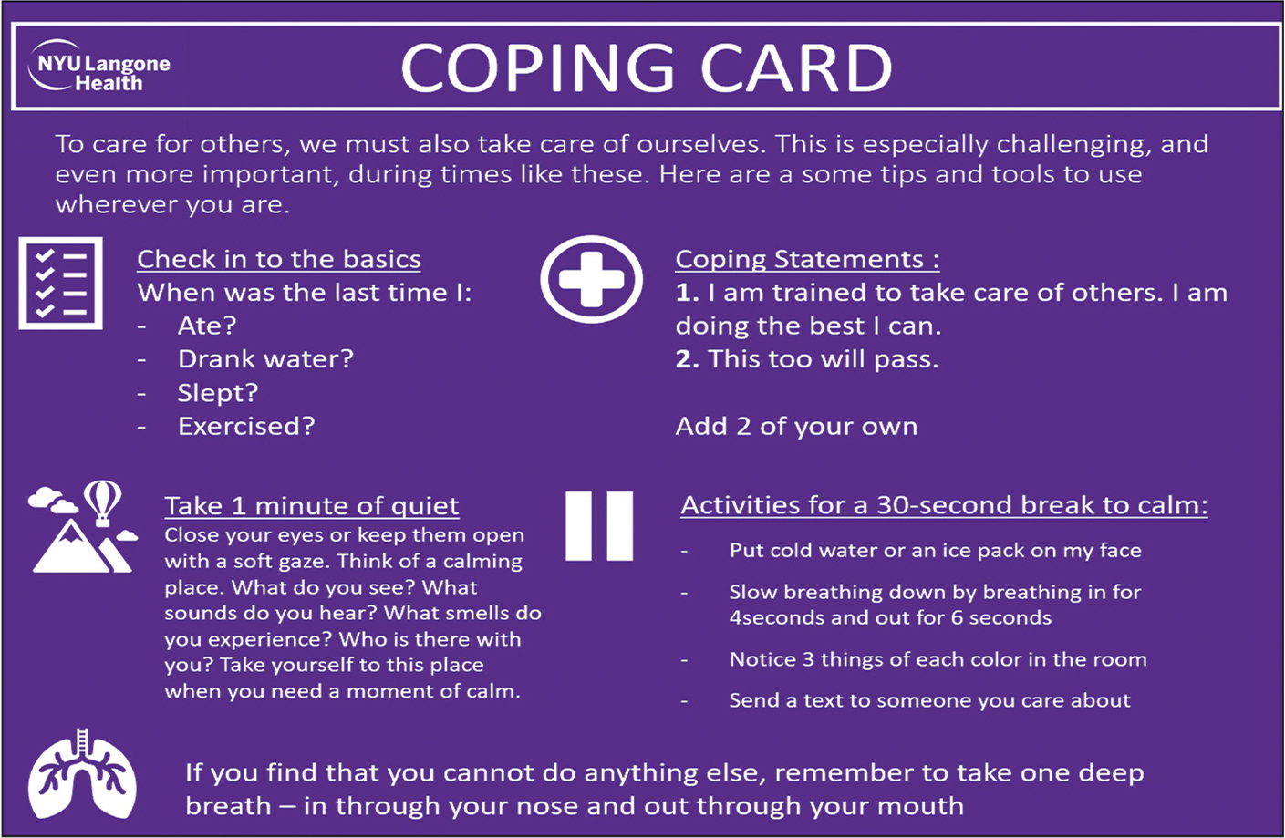 Coping card resource. Figure used with permission of Dr. Charles R. Marmar (Chair, Center for Alcohol Use Disorder and PTSD, Department of Psychiatry, NYU Grossman School of Medicine, NYU Langone Health).