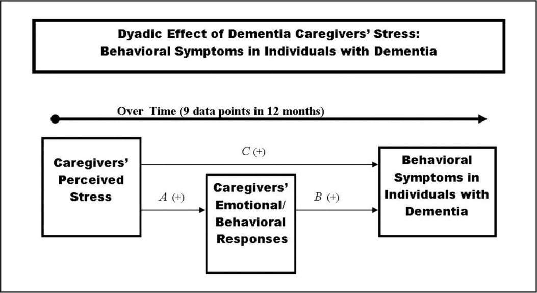 The reduced Dyadic Effect of Dementia Caregivers' Stress Process: Behavioral Symptoms in Individuals with Dementia model with key variables and relationships from the full model.