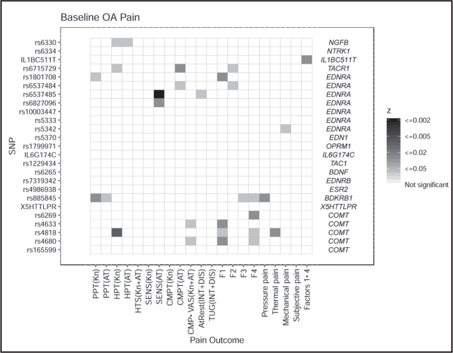 Genetic association p values for osteoarthritis (OA) pain phenotypes.Note. OA = osteoarthritis; SNP = single nucleotide polymorphism; NGFB = nerve growth factor beta; NTRK1 = neurotrophic receptor tyrosine kinase 1; IL1B = interleukin-1 beta; TACR1 = tachykinin receptor 1; EDNRA = endothelin receptor A; EDN1 = endothelin 1; OPRM1 = opioid receptor mu 1; IL-6 = interleukin-6; TAC1 = tachykinin precursor 1; BDNF = brain derived neurotrophic factor; EDNRB = endothelin receptor B; ESR2 = estrogen receptor 2; BDKRB1 = bradykinin receptor B1; 5HTT = serotonin transporter; COMT = catechol-O-methyltransferase; PPT = pressure pain threshold; HPT = heat pain threshold; HTS = heat temporal summation; Kn = medial joint line; AT = anterior tibialis; SENS = sensation threshold; CMPT = cutaneous mechanical sensation and pain threshold; CMP = cutaneous mechanical pain; VAS = visual analogue scale; INT = intensity; DIS = distress; F = factor.