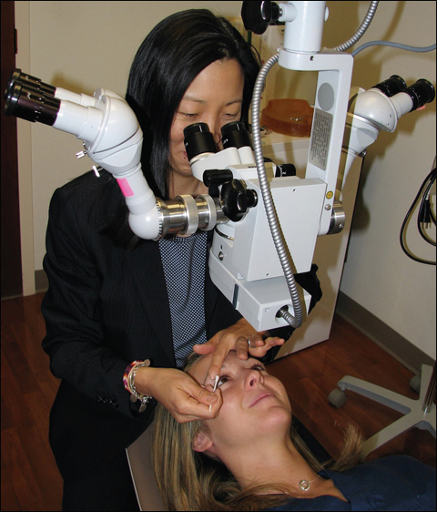 Meibomian gland expression is performed after the light treatment by Joanne F. Shen, MD.