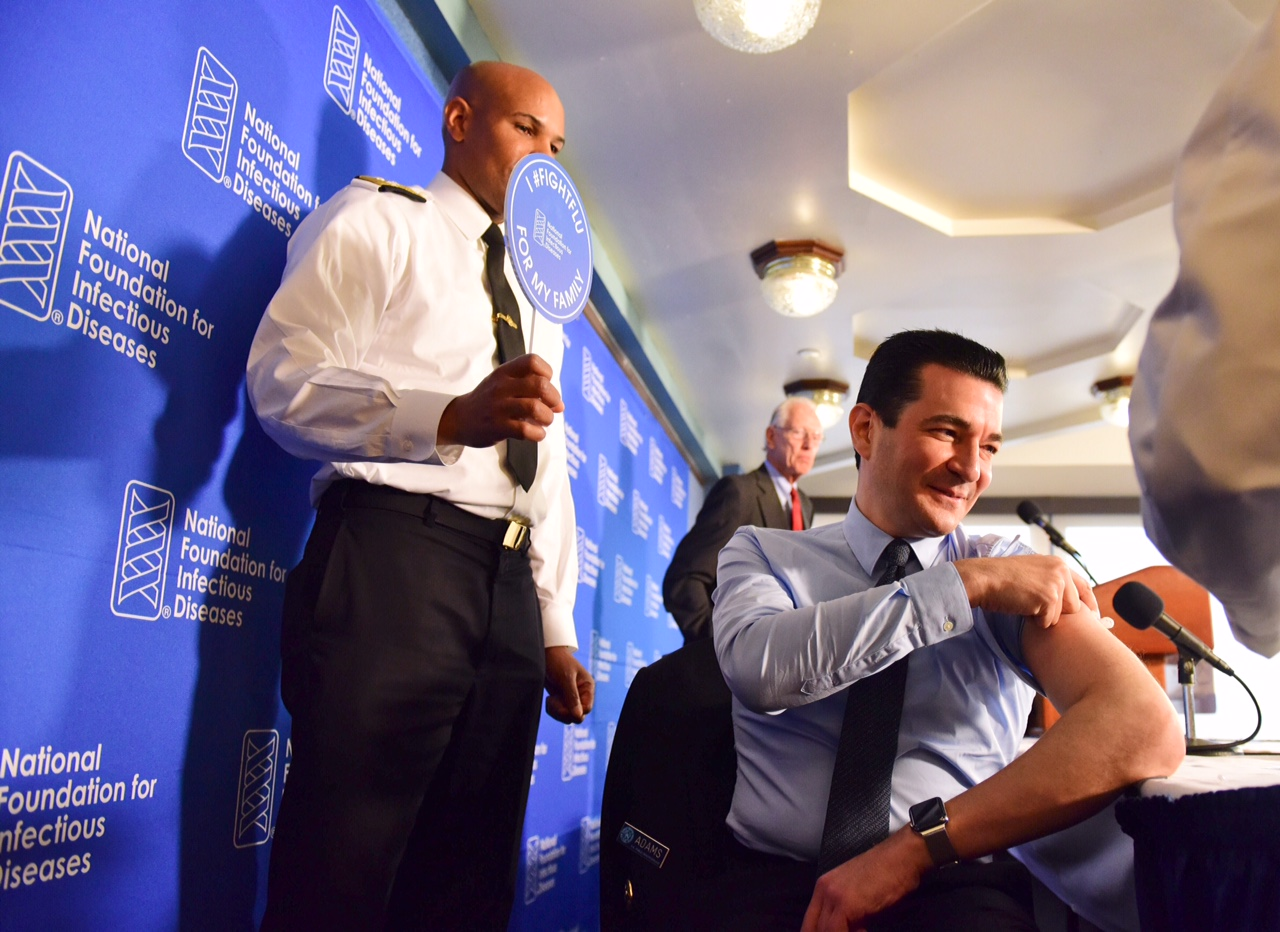 FDA Director Scott Gottlied recieves flu shot