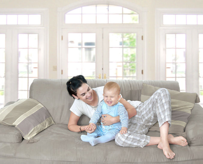 Baby and Mom on Couch