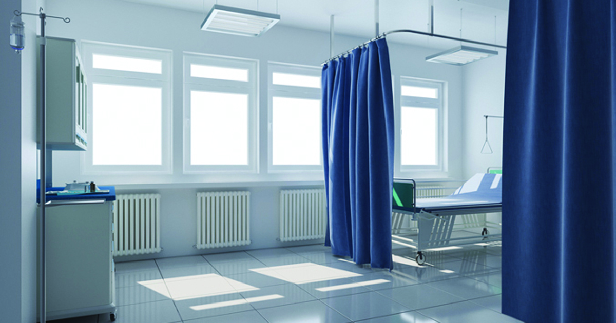 Photo of a hospital privacy curtain